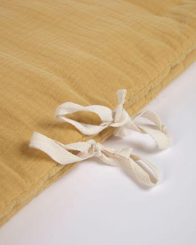 Tour de lit Yamile 100 % coton biologique (GOTS) jaune moutarde 180 x 30 cm