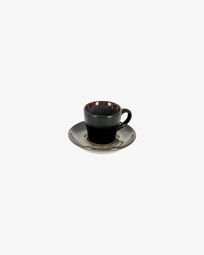 Dark blue Odile coffee cup with plate