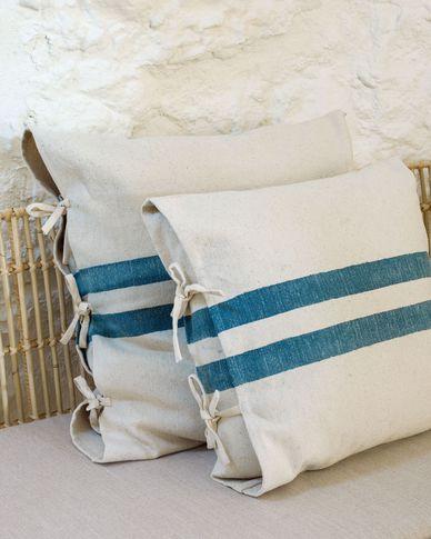 Kussenhoes Ziza met brede blauwe en witte strepen van 100% katoen 45 x 45 cm