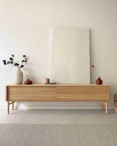 Lenon oak TV stand 200 x 57 cm with oak veneer FSC MIX Credit