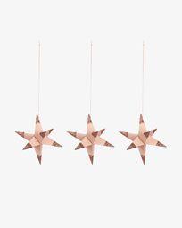 Set Belalia de 3 estrelas decorativas de pendurar rosa