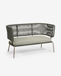 Nadin 2-seater sofa with green rope and galvanised steel 135 cm