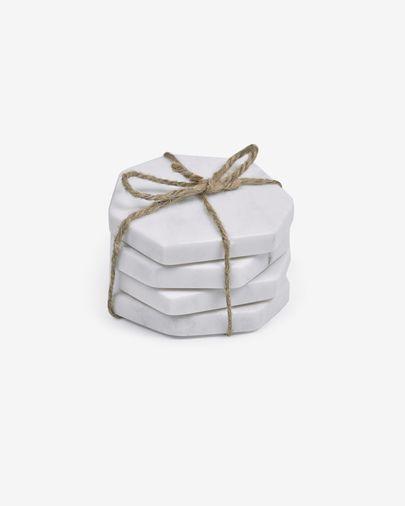 Set Claria de 4 posavasos en forma de heptágono de mármol blanco