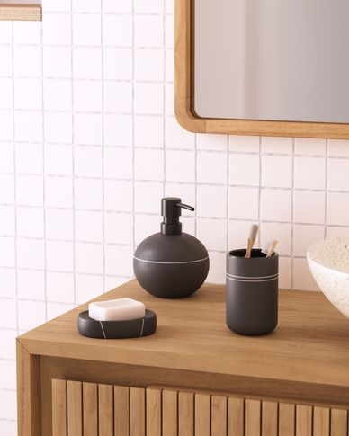 Cerisa black ceramic soap dish with white detail