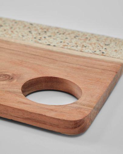 Verna serveerplank rechthoekig hout en wit terrazzo