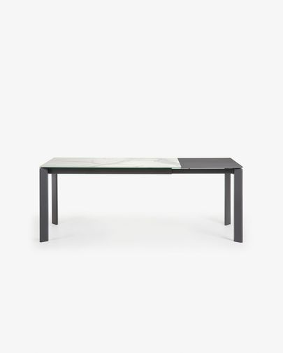 Axis uitschuifbare tafel 140 (200) cm porselein afwerking Kalos Wit antraciet benen