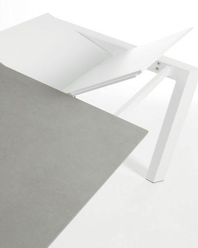 Taula extensible Axis 120 (180) cm porcelànic acabat Hydra Plom potes blanc