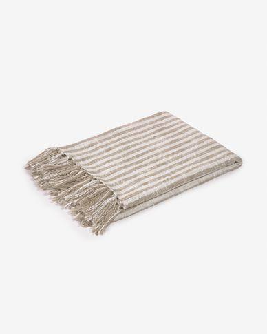 Plaid Carola rayures 100% coton marron et blanc 130 x 170 cm