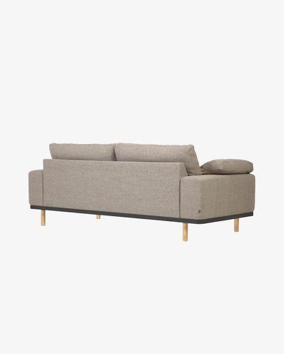 Noa 3-Sitzer Sofa mit beigen Kissen und mit Beinen naturbelassen 230 cm