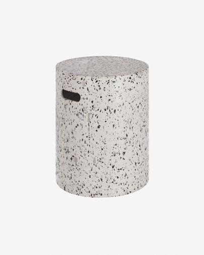 Repousa-pés Jenell de cimento terrazzo branco de Ø 35 cm
