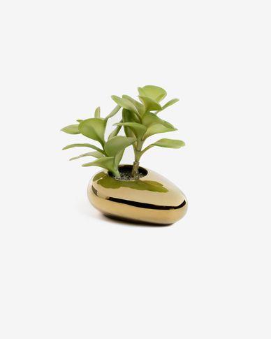 Planta artificial Adenium obesum con maceta de cerámica dorado 15 cm