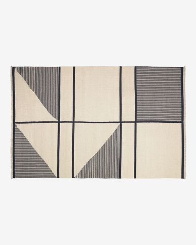 Bernardine wool and cotton rug in black and white 160 x 230 cm
