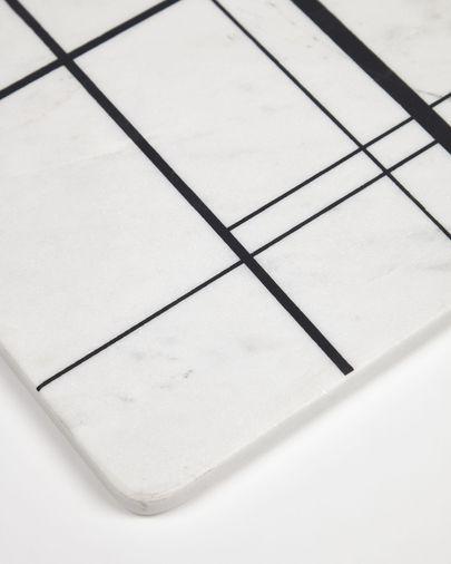 Tabla de cortar Tahina de mármol blanco y rayas azul
