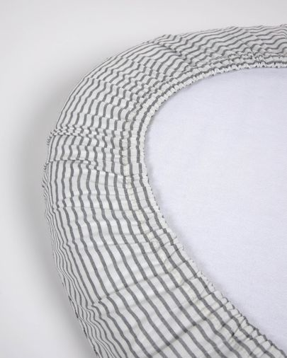 100% cotton (GOTS) sheet with blue stripes for Nahima moses basket