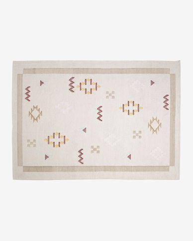 Bibiana wool and cotton patterned rug in beige 160 x 230 cm
