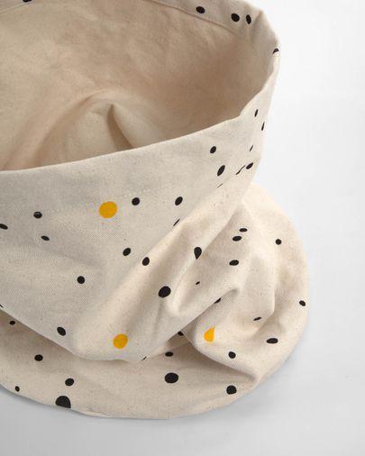 Cesta Xiel 100% algodón orgánico (GOTS) topos negro y amarillo