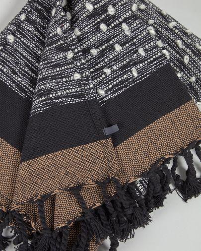 Manta Gravel cotó marró i negre 130 x 170 cm