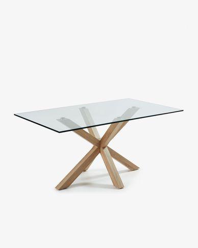 Tavolo Argo 180 cm cristallo gambe effetto legno