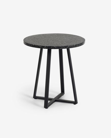 Tavolo rotondo Tella in terrazzo nero Ø 70 cm