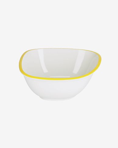 Odalin large porcelain bowl in yellow and white