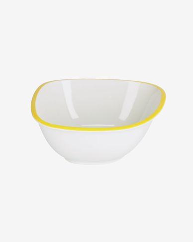 Ciotola grande Odalin in porcellana bianca e gialla