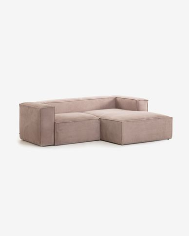 Blok 2-seater sofa with right-hand chaise longue in pink corduroy 240 cm