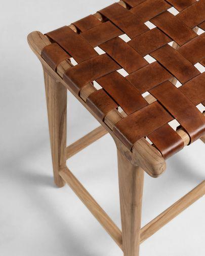 Taburete Calixta de madera maciza de teca altura 67 cm
