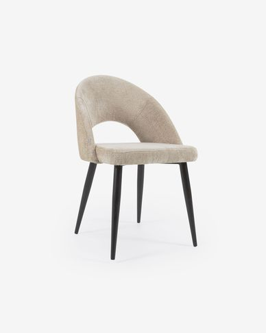 Beige chenille Mael chair with steel legs with black finish