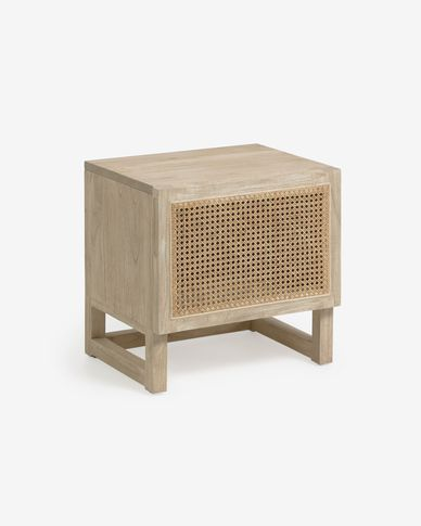 Rexit solid mindi wood and veneer bedside table with rattan 50 x 50 cm