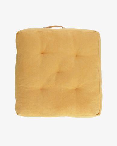 Sarit 100% katoenen mosterdgele vloerkussen 60 x 60 cm