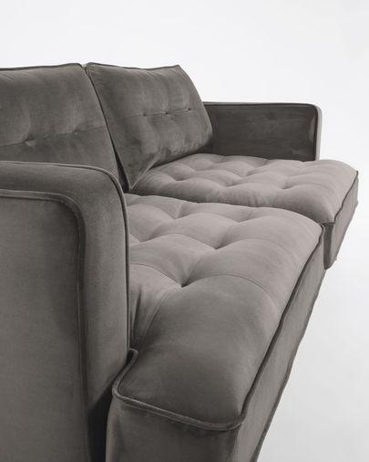 Sofà Tanya 3 places vellut gris 183 cm