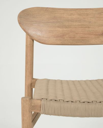Galit chair made from solid eucalyptus wood with natural finish and beige cord FSC 100%
