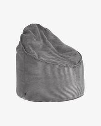 Grey corduroy Wilma pouf Ø 80 cm