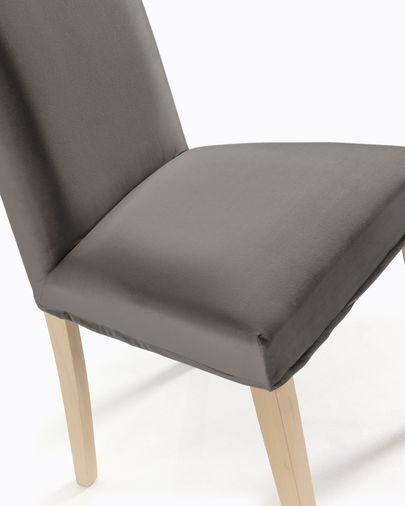 Freda chair grey velvet and natural