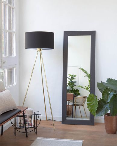 Yvaine spiegel brede omlijsting donkere afwerking 52,5 x 152 cm
