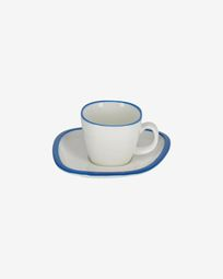 Odalin porcelain coffee cup in blue and white