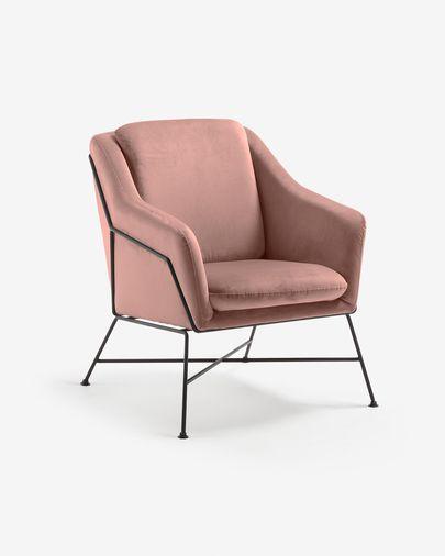 Pink velvet Brida armchair