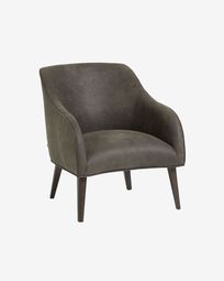 Bobly armchair with grey fabric and wenge finish legs