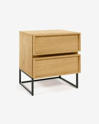 Taiana bedside table with oak veneer and steel frame with black finish 45 x 51 cm