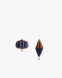Set Artik de 2 adorns penjolls decoratius blau i daurat