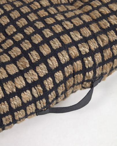 Jute and black natural cotton floor-pallet cushion Adelma 60 x 120 cm