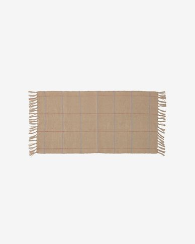 Badia natural rug with garnet and light blue stripes 70 x 140 cm