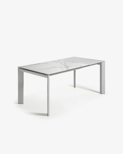 Extendable table Axis 120 (180) cm porcelain Kalos White finish gray legs