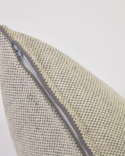 Funda cojín Celmira 100% algodón gris y borde gris 30 x 50 cm