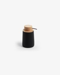 Jenning black and beech wood soap dispenser