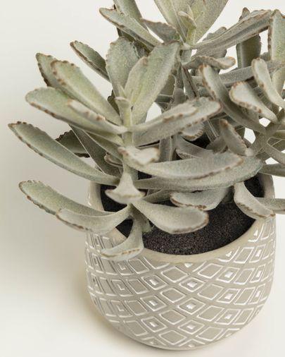 Planta artificial Kalanchoe tomentosa con maceta de cemento blanco y gris 23 cm