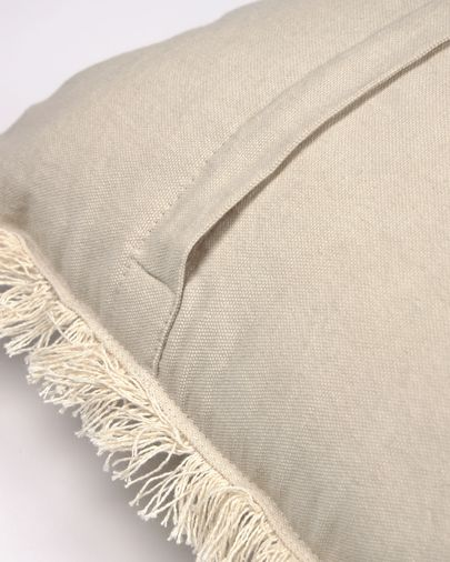 Funda cojín Ailen algodón y lino flecos beige 45 x 45 cm