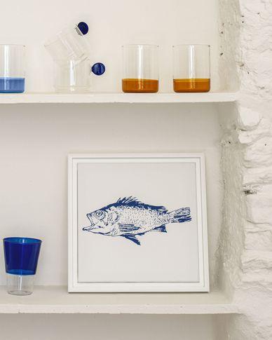 Kunstwerk Lavinia met blauwe vis 30 x 30 cm