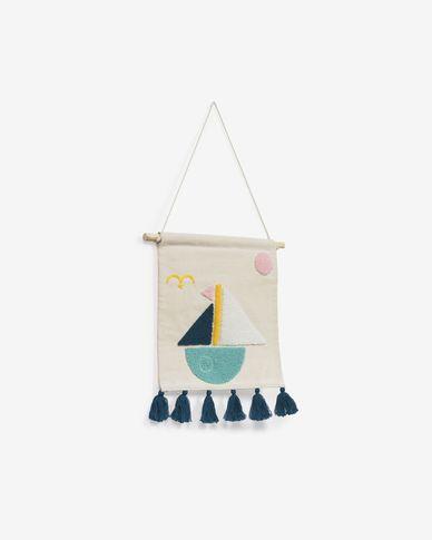 Delmare cotton multi-coloured wall tapestry with sailing boat 25 x 25 cm