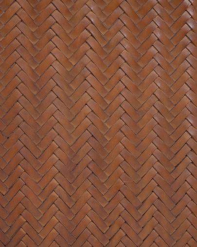 Tête de lit Natesa bois massif de tek et cuir 163 x 60 cm